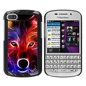 Caucho caso de Shell duro de la cubierta de accesorios de protección BY RAYDREAMMM - BlackBerry Q10 - Wolf Neon Colors Portrait Snout Muzzle