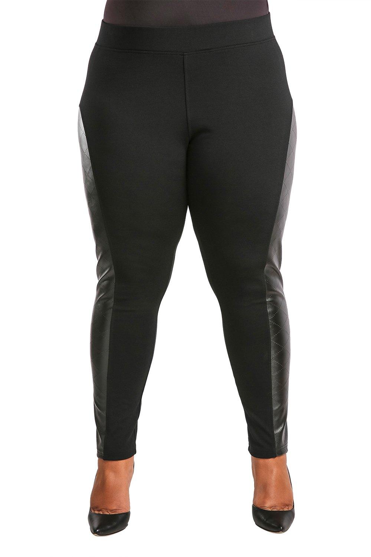 Poetic Justice Plus Size Women's Curvy Fit Black Vegan Leather Moto Legging Size 1X