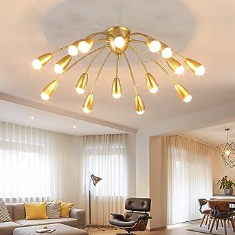 LXSEHN Gold Nordische Postmodern Legierung Deckenlampe (16-lampig ...