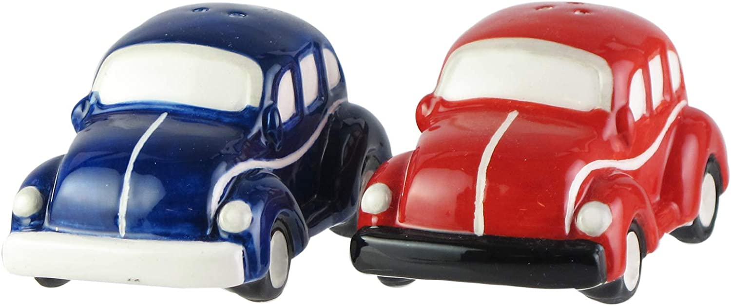Volkswagen Housewarming or Birthday American Atelier 7204-SP-A Beetle Salt /& Pepper Shakers Ceramic Container Blue//Red Hostess or Host Gift Idea for Any Special Occasion