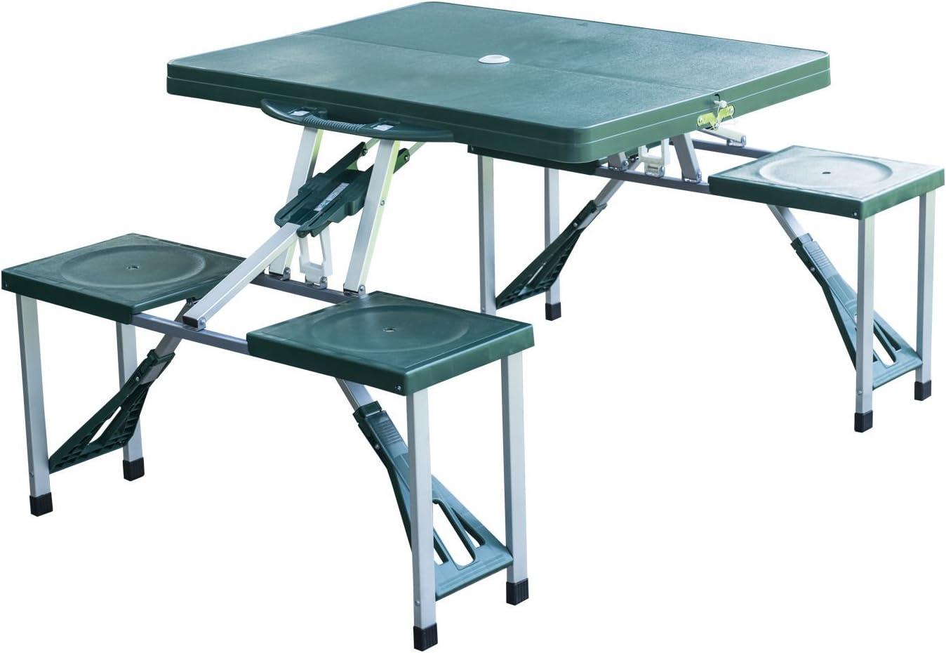Outsunny Portable Aluminum Folding Picnic Table Outdoor Garden BBQ Party Desk