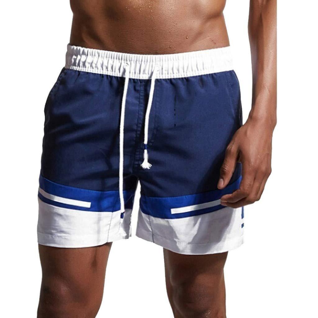NUWFOR Men Casual Splice Stripe Beach Work Casual Men Short Trouser Shorts Pants(Dark Blue,US:M Waist31.10'')