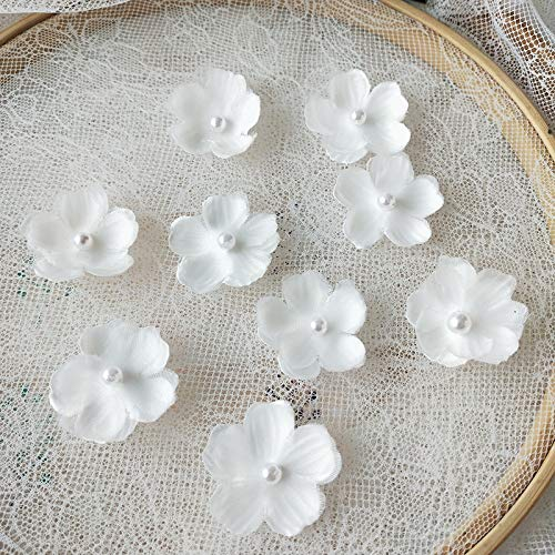 8 pcs White Organza Embroidery 3D Lace Flower Fabric Appliques with Peal Beads Crystal Iron On Patches DIY Decoration for Clothing Backpacks Jeans Caps Shoes Dress Bridal Wedding (f3)