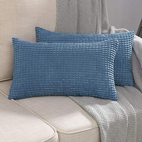 MUILEE Pack of 2 Corduroy Soft Soild Decorative Square Throw Pillow Covers Set Smoky Blue Cushion Case for Sofa Bedroom Car 12 x 20 Inch 30 x 50 cm ()