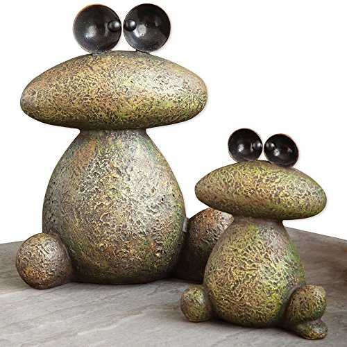 Bits and Pieces Garden Décor-Two Frogs Sculpture for Your Garden, Lawn or Patio - Durable, Weather Resistant Polyresin ()