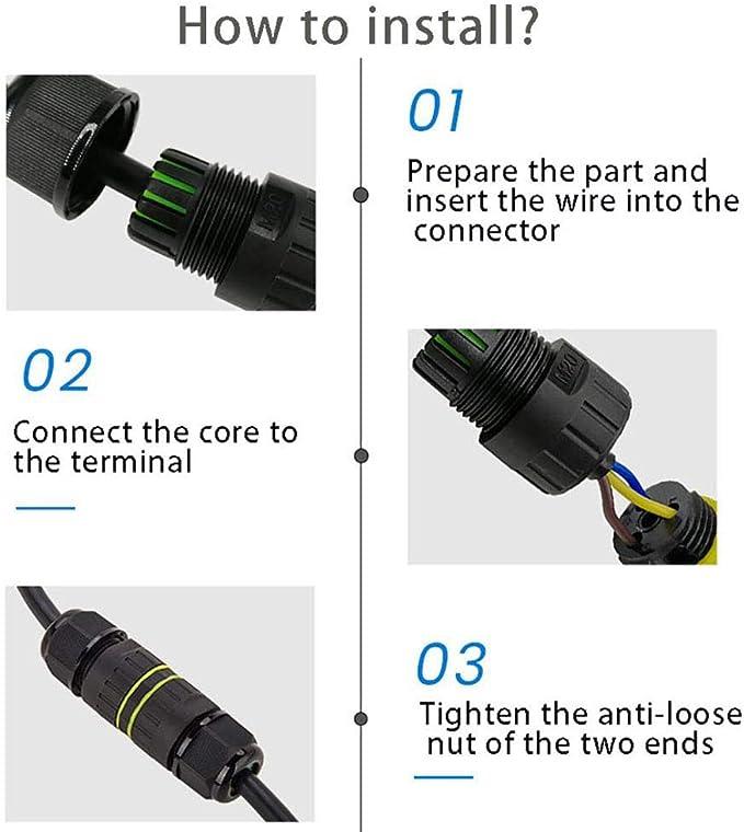 Conector de Cable Exterior Impermeable IP68 Caja de Conexiones de 3 Pines Conector de Cable El/éctrico a Prueba de Agua para Di/ámetro /Ø 6-12mm
