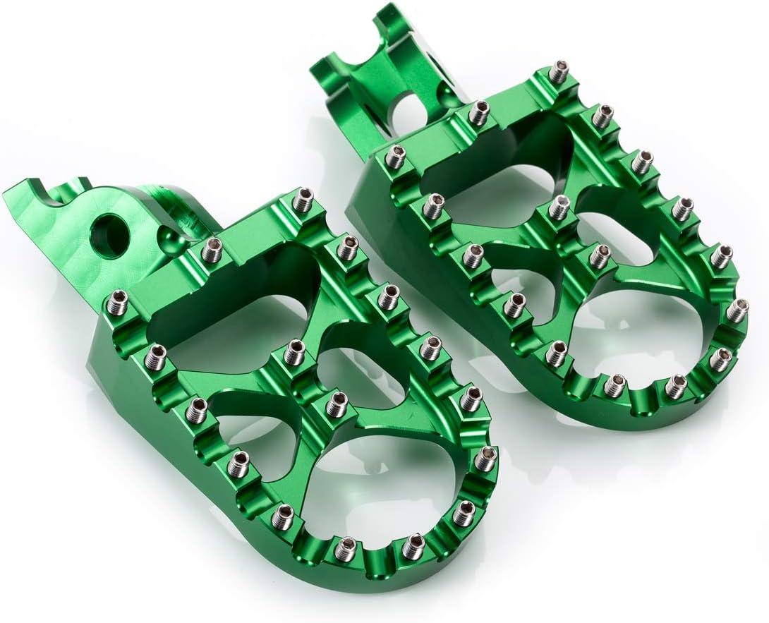 KX450 2019,Green KLX450R 2008-2013 KX250 2019 KX450F 2007-2018 Hopider CNC Wide Foot Pegs MX for Kawasaki KX250F 2006-2018