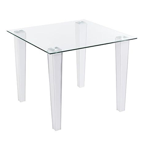Amazon.com: Plaza mesa de comedor W/Vidrio parte superior y ...