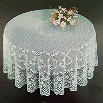 Fine White Lace Tablecloth In 90u0026quot; Round. Floral Design. Perfect For  Wedding Reception