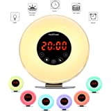 Swiftrans Wake Up Light, Sunrise & Sunset Simulation Alarm Clock, Memory Battery with Adjustable Brightness /7 Colors/6 Sounds, Snooze, FM Radio, Touch Control Function for Adults and kids