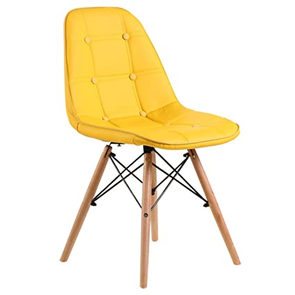 Eames Replica Cushioned Dining Chair/Cafe Chair/Side Chair/Accent Chair (Yellow) Color by Finch Fox