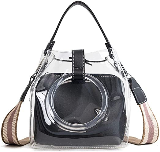 Faux Leather Casual Tote Bag And Pouch Hasp Closure With Tassel Design 2pcs Sets