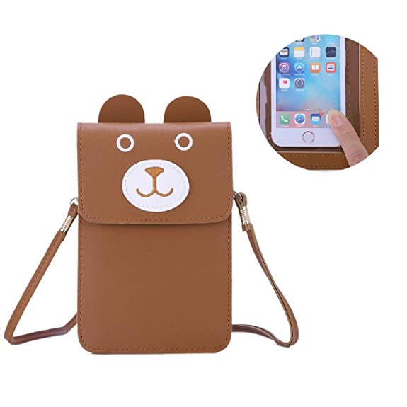 Women Tan Cell Phone Purse PU Leather Small Crossbody Bag Smartphone Wallet Bags with Shoulder Strap