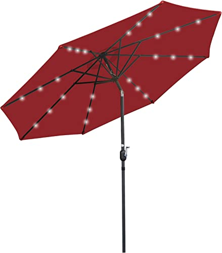 SUPER DEAL 10FT Solar LED Lighted Patio Umbrella Table Umbrella – Push Button – Tilt Adjustment Crank Lift System – Aluminum Ribs for Patio, Garden, Backyard, Deck, Poolside, and More Burgundy