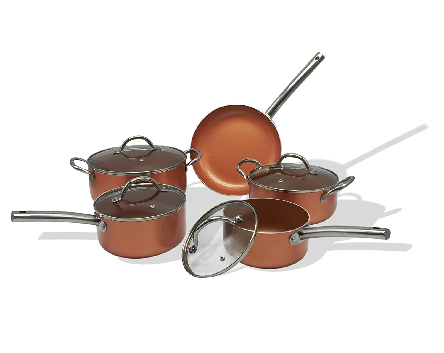Chef Quality Copper 9 Piece Non Stick Induction Pan Set groundlevel.co.uk