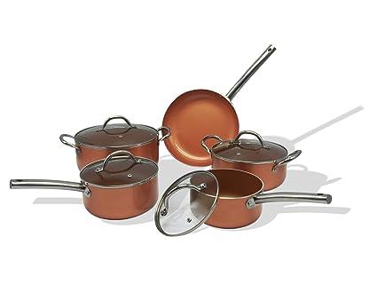Chef Quality Copper 9 Piece Non Stick Induction Pan Set  Amazon.co.uk   Kitchen   Home e61a2e0e3