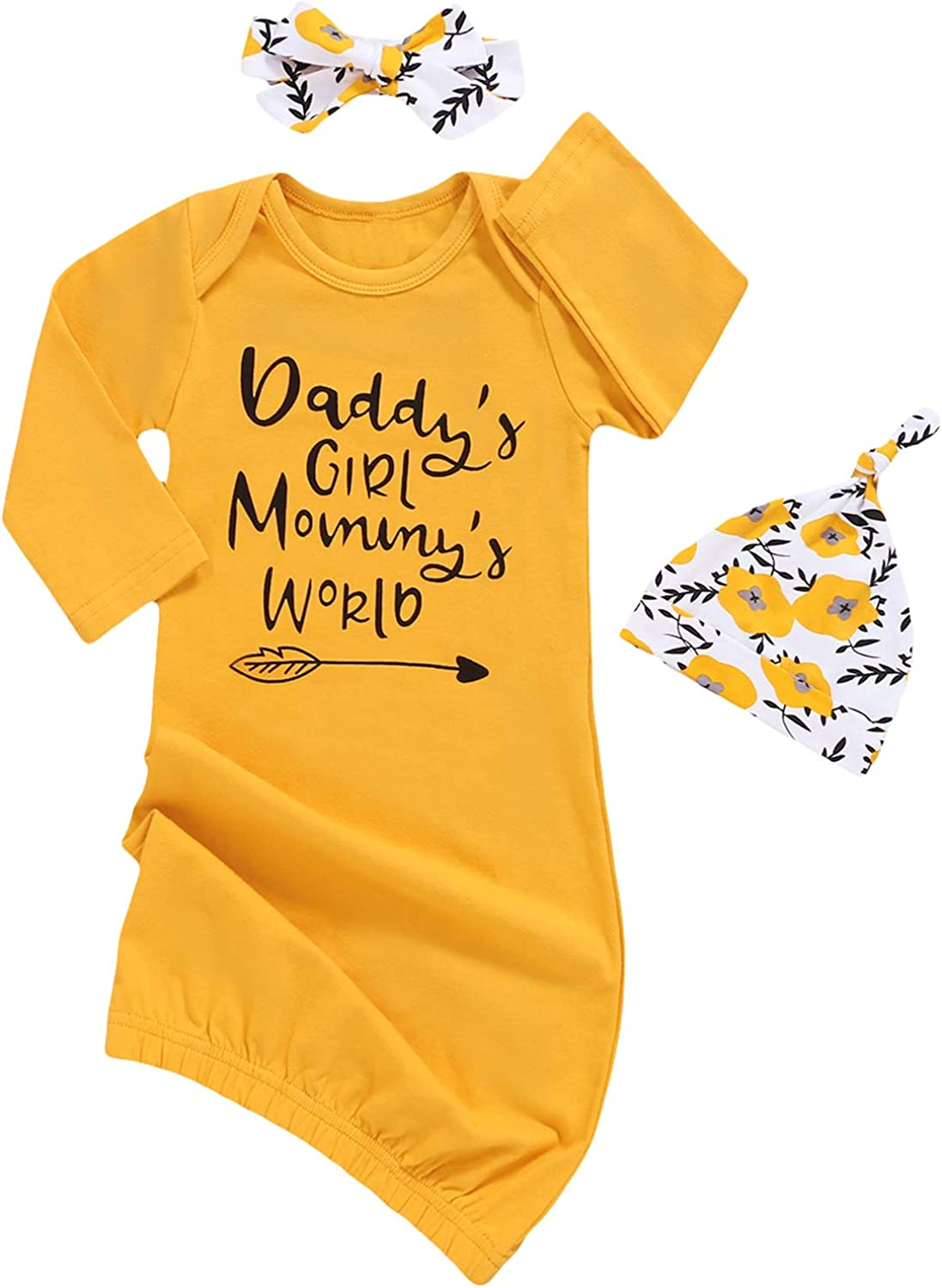 Dramiposs Newborn Girls Isn't She Lovely Floral Nightgowns Long Sleeve Outfits with Hat and Headband: Clothing