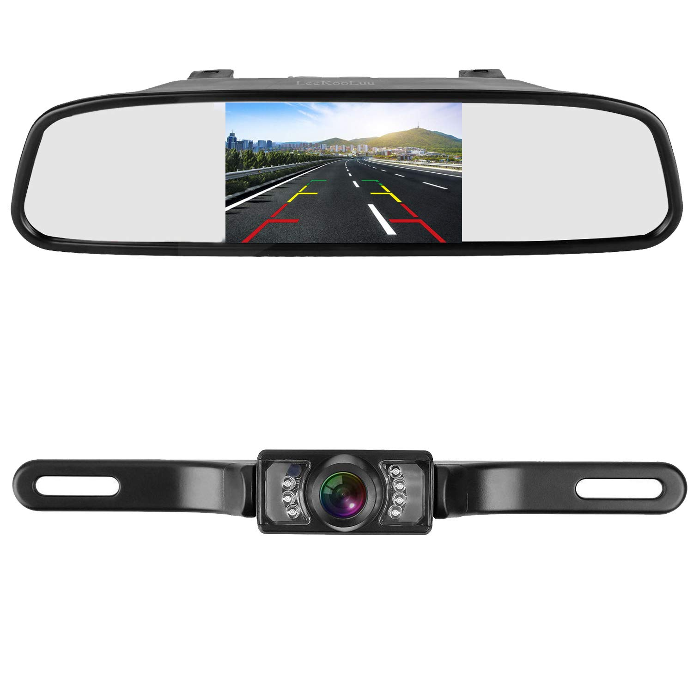 LeeKooLuu Backup Camera and 4.3'' Mirror Monitor Kit for Car//SUV/RV/Van/Truck Single Power Rear View System Driving/Reversing Use IP68 Waterproof Night Vision with Guide Lines by LeeKooLuu