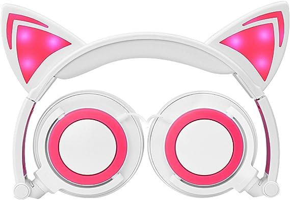 Auriculares para Niños con Oído de Gato, MallTEK LED Auriculares Plegables sobre el Oído para Niños Auriculares 3.5 Jack Compatible con PC, Smartphone Android, iPhone, iPad, Samsung, MP3, MP4: Amazon.es: Electrónica