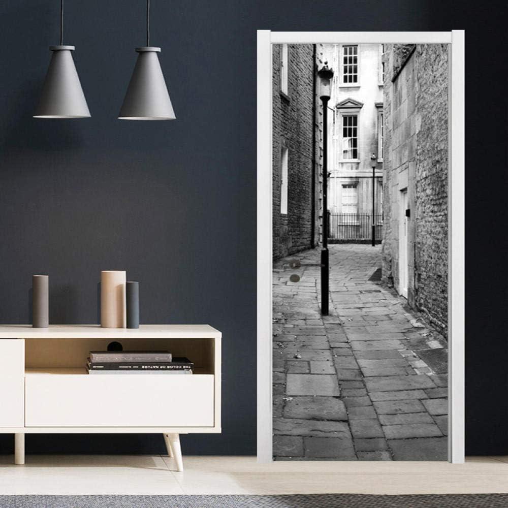 77*200CM PVC Papel autoadhesivo Puerta Mural etiqueta Art Decals Papel tapiz de la foto para el dormitori YSJHPC Pegatinas de puerta en 3D Estilo Blanco Y Negro Farolas Calles De Edificios Antiguos