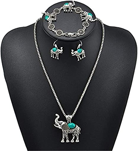 Flybloom 3 Pieces//Set Jewelry Set Vintage Turquoise Elepant Metal Carved Flower Pendant Necklace Bracelet Earrings Suit for Birthday Gift,Green