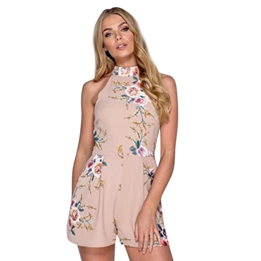 e1ac66dc4e Amazon.com: Rambling New Womens Floral Print High Neck Sleeveless Casual  Boho Overlay One Piece Rompers Jumpsuits: Clothing