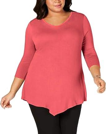 Camiseta Ancha de Estilo túnica para Mujer - Cuello Redondo y Manga de 3/4 - Bajo Acabado en Pico: Amazon.es: Ropa y accesorios