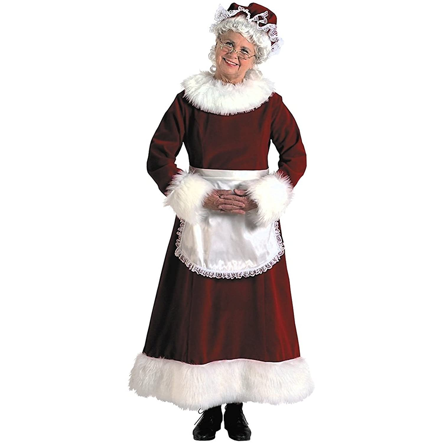 Adult Mrs. Santa Claus Red Velvet Costume Dress Set Plus Size - DeluxeAdultCostumes.com