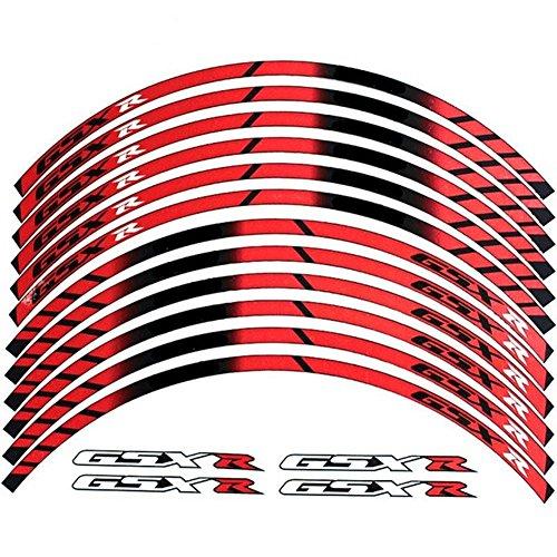 (Red 10 X Custom Rim Decals Wheel Reflective Stickers Stripes for Suzuki GSXR Gixxer 1000 1300 600 750)