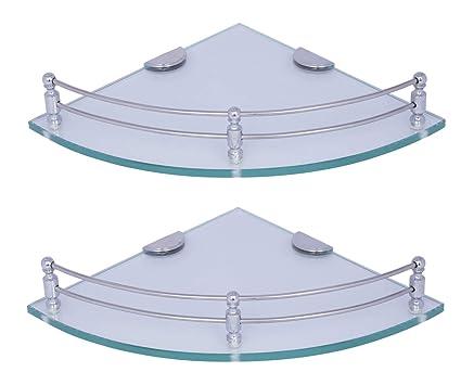Primax Multi-Purpose Glass Corner Shelf - 9 x 9 Inches - Glossy, 2-Pieces