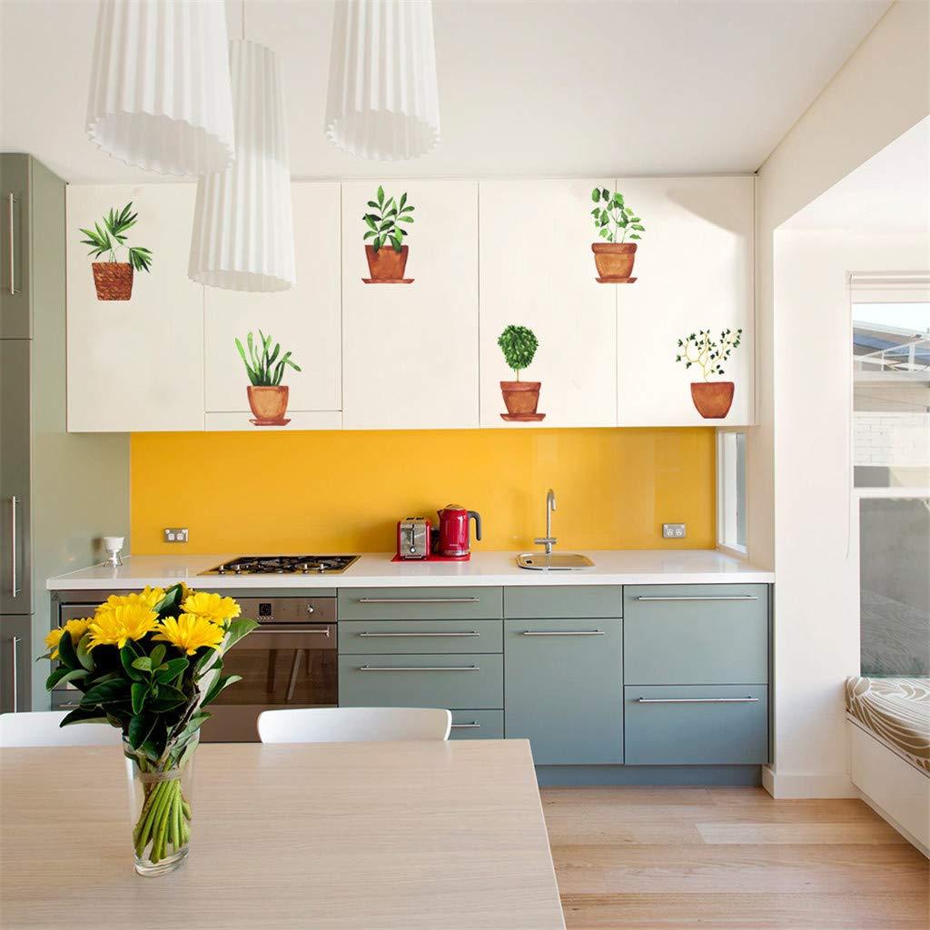 TM 14.8x21cm PVC Entfernbar Kreativ Wandaufkleber Frischer Stil Topfpflanze Pflanze Befestigt Mit dekorativ Wand-Fenster Dekoration Y56