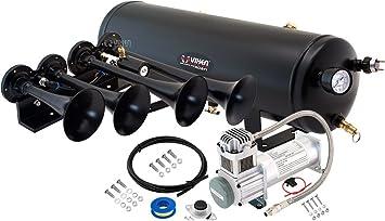 Super Loud dB Fits Vehicles Like Pickup//Jeep//RV//SUV 12v VXO8325//3114B Complete Onboard System- 200psi Air Compressor Vixen Horns Train Horn Kit for Trucks//Car//Semi 2.5 Gallon Tank 3 Trumpets