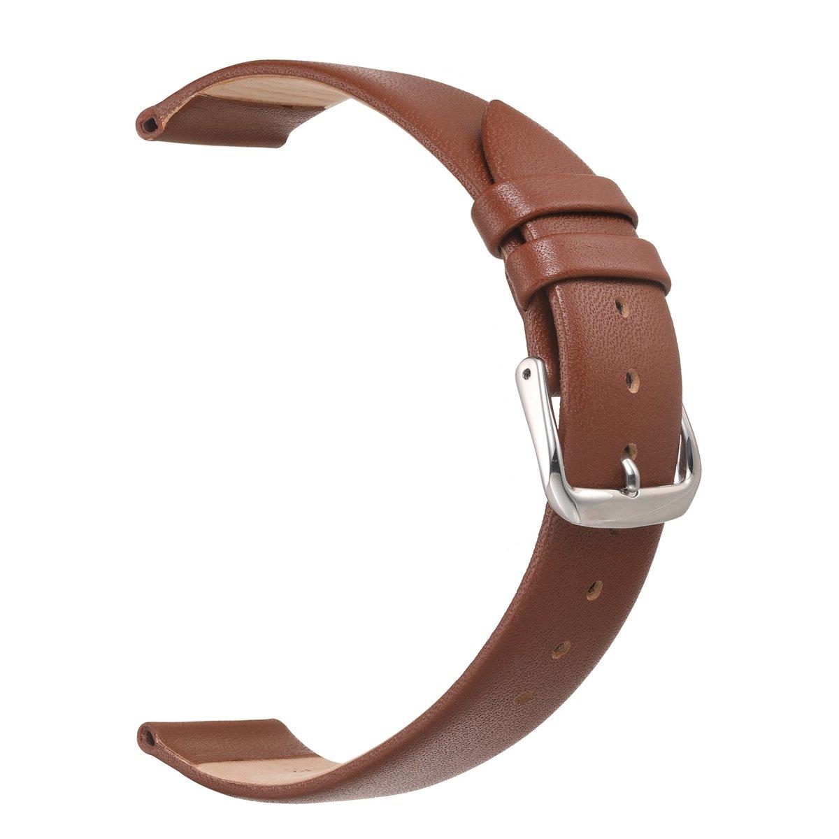 eache Classical超薄型本革バンド腕時計ストラップ異なる色 20mm ライトブラウン 20mm|ライトブラウン ライトブラウン 20mm B075JF3R17