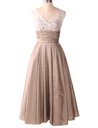 Midi Evening Dresses Wedding Women A Line Tea Length Cocktail Vintage Bridal Gown Champagne Size 2