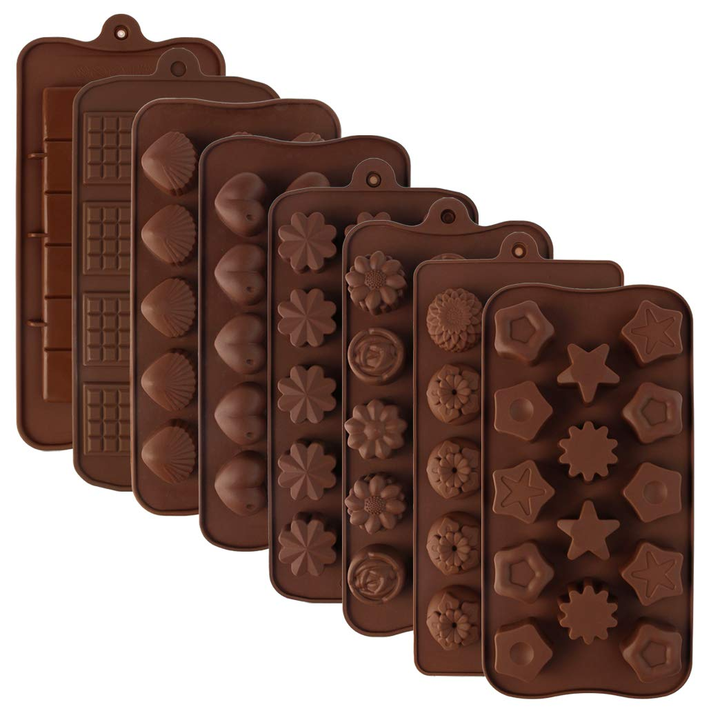 Silicone Chocolate Molds - obmwang 8 Pack Silicone Candy Molds Chocolate Molds Ice Cube Molds - Silicone Molds for Cake Chocolate Candy Desserts Pudding Jelly DIY