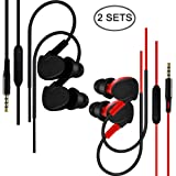 SourceTon 2 Packs Running Headphones Wired Sweatproof Sports Earbuds with Microphone & Volume Control, Over Ear In-ear Earphones for Gym Workout Jogging Exercise Earhook for iPhone iPod Android Phone