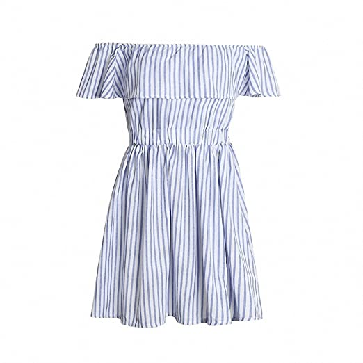 Off shoulder ruffle striped summer dress Casual hollow out backless short dress robe Women beach sexy dress vestidos at Amazon Womens Clothing store: