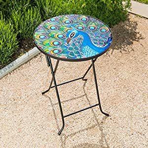 CHRISTOW Bistro Table Glass Top, Small Folding, Garden Gift, Outdoor Patio Decoration, Hand Painted, UV Resistant…