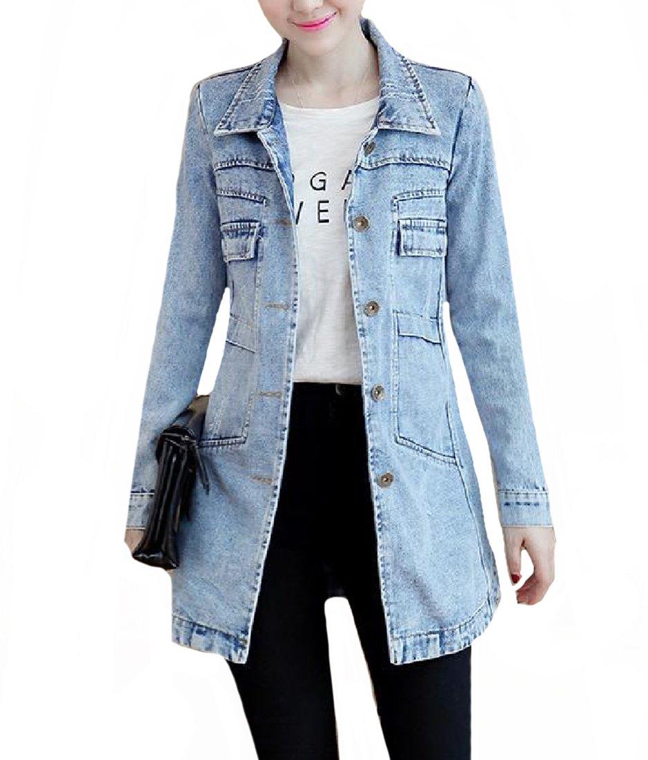 SportsX Women Plus Size Denim Long Sleeve Top Coat Big Pockets Jackets Light Blue 4XL