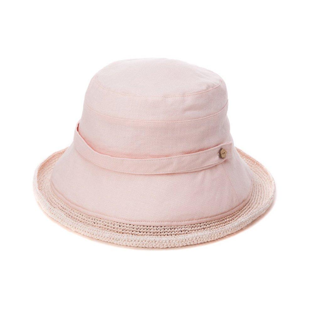 Cappello ZHIRONG Estate Estivo da Donna Spiaggia Holiday Tesa Larga  Pieghevole Blu Bianco Rosa Estate Casual Moda Donna Visiera cap Rafia Fatto  a Mano ... 3e9afb53e001