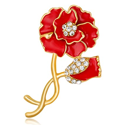 Ocamo Women Refined Rhinestone Brooches Vintage Fashionable Flower Shape  Breastpin Christmas Gift Party Jewelry