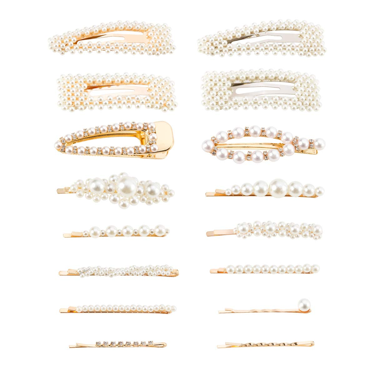 16 Pack Artificial Pearl Hair Pins Alloy Hair Barrettes Decorative Wedding Bridal Hair Clips Accessories for Women Girls Teens
