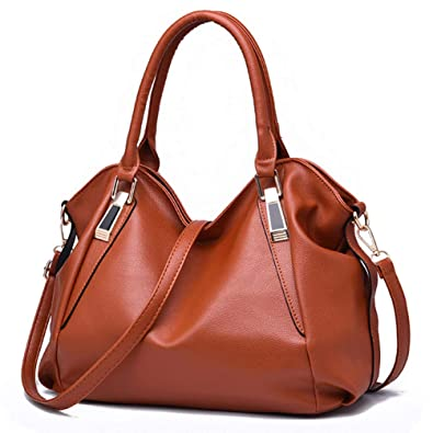 cc654bae55a3 Ladies Top Handle Plain Handbags Large Capacity PU Leather Zip Closure Satchel  Tote Bags Crossbody Shoulder Bag Brown  Handbags  Amazon.com