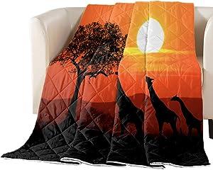 African Animal Giraffe Reversible Down Alternative Comforter, Lightweight Bedspread Thin Soft Throw Blankets Bed Quilt for All Seasons Nature Sunset Landscape