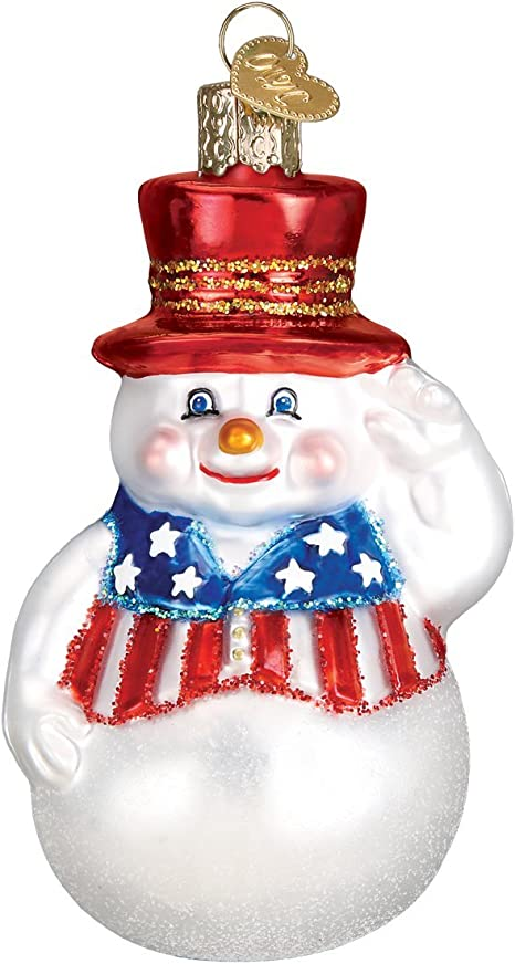 Old World Christmas Assortment Glass Blown Ornaments For Christmas Tree Patriotic Snowman Home Kitchen