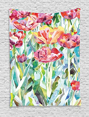 Watercolor Flower Decor Tapestry Wall Hanging - Flower wall tapestry
