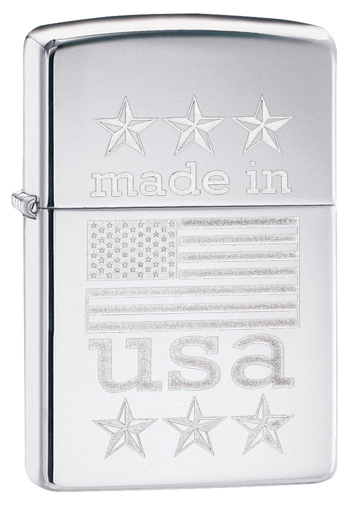 Zippo Made in USA with Flag Pocket Lighter, High Polish Chrome by Zippo