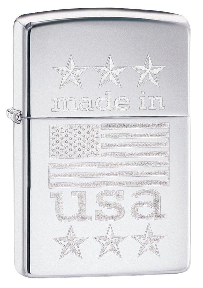 Zippo Made in USA with Flag Pocket Lighter, High Polish Chrome by Zippo (Image #1)