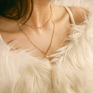 Yean Boho Necklaces Gold Layered Necklace Crystal Pendant Y Necklace Jewelry Chain for Women and Girls