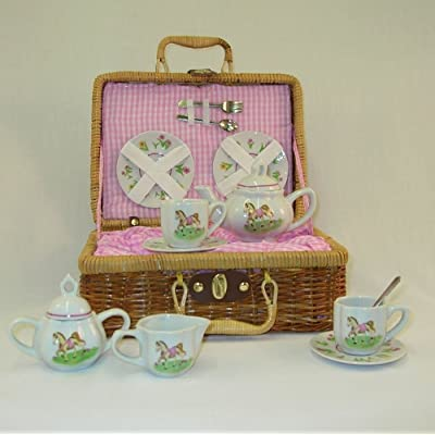 Delton Products Pony Porcelain Tea Set in Basket, Large: Toys & Games